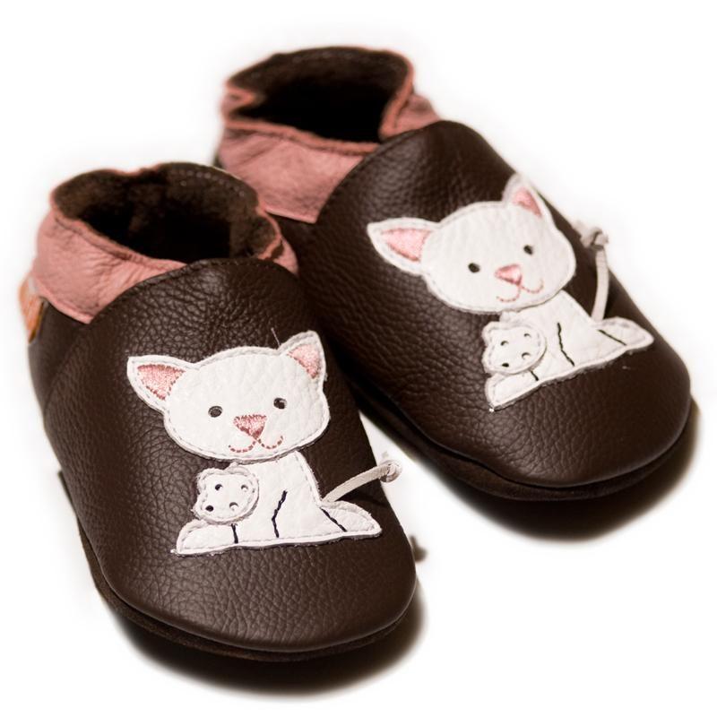Liliputi kožené capáčky kočička hnědé Velikost: EUR 19