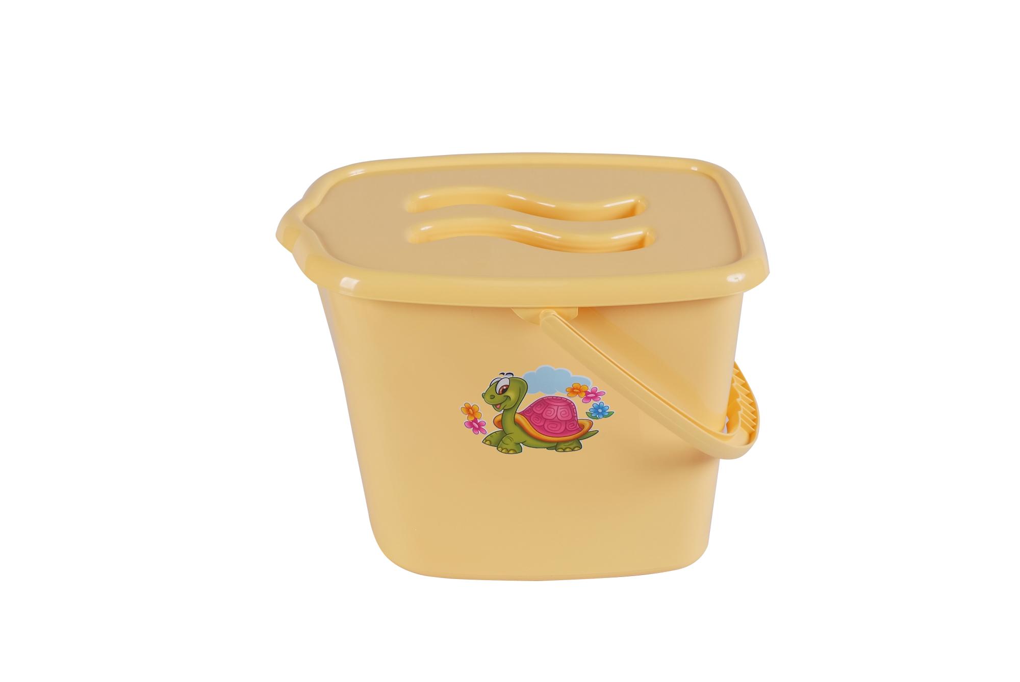 Maltex Kbelík plastový s víčkem Želva - žluté