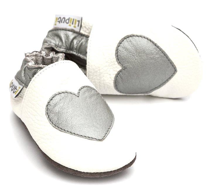 Liliputi kožené capáčky stříbrné srdce bílé Velikost: EUR 17
