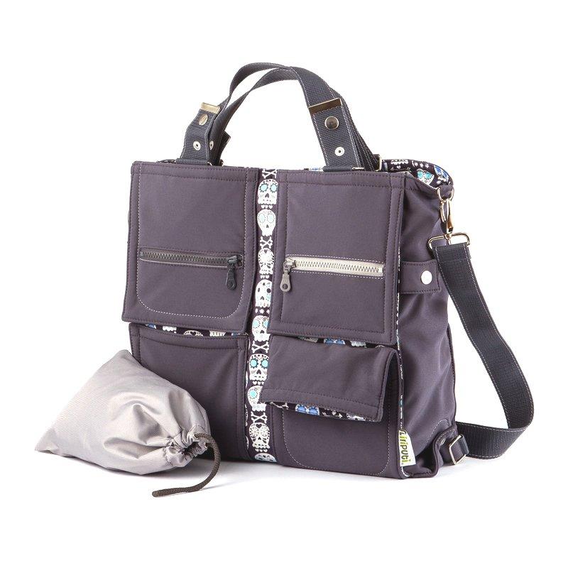 Liliputi přebalovací taška Lebky šedá