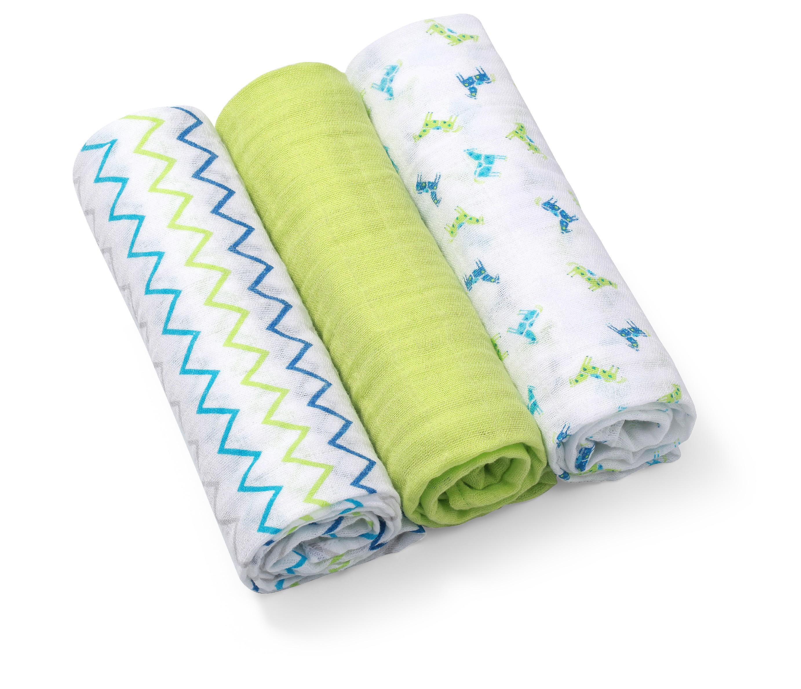 BabyOno Pleny mušelínové - Super soft 3ks - Zelené