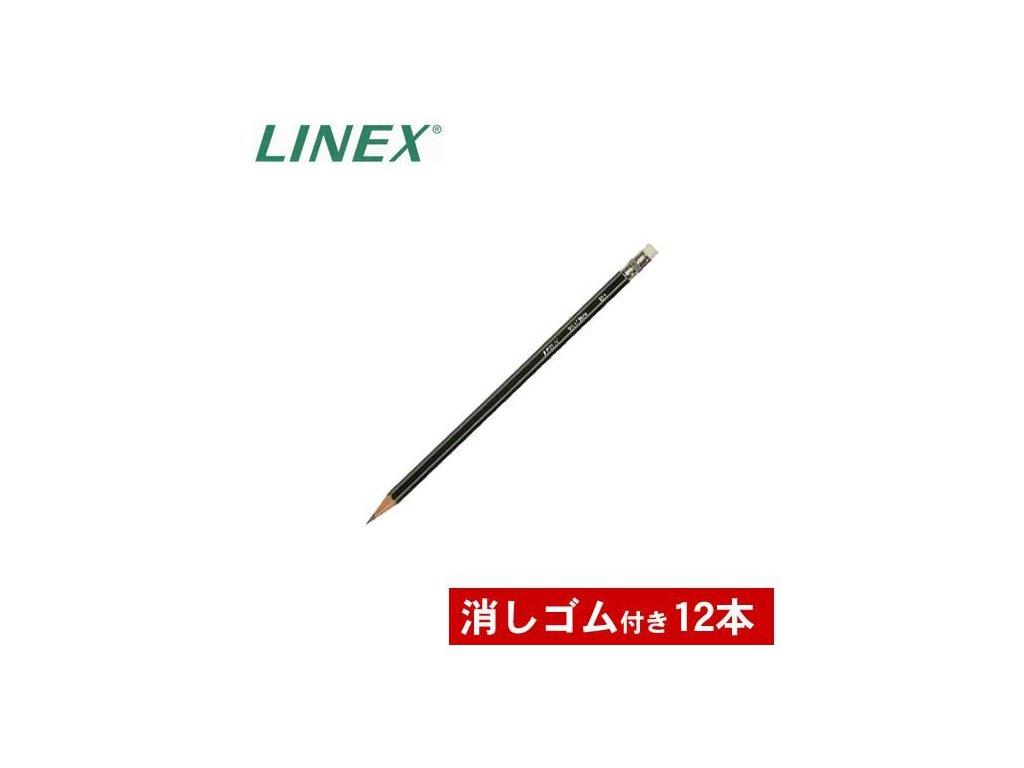 Linex, drevená šesťhranná ceruzka Linex s gumou na konci, cena za 12 ks