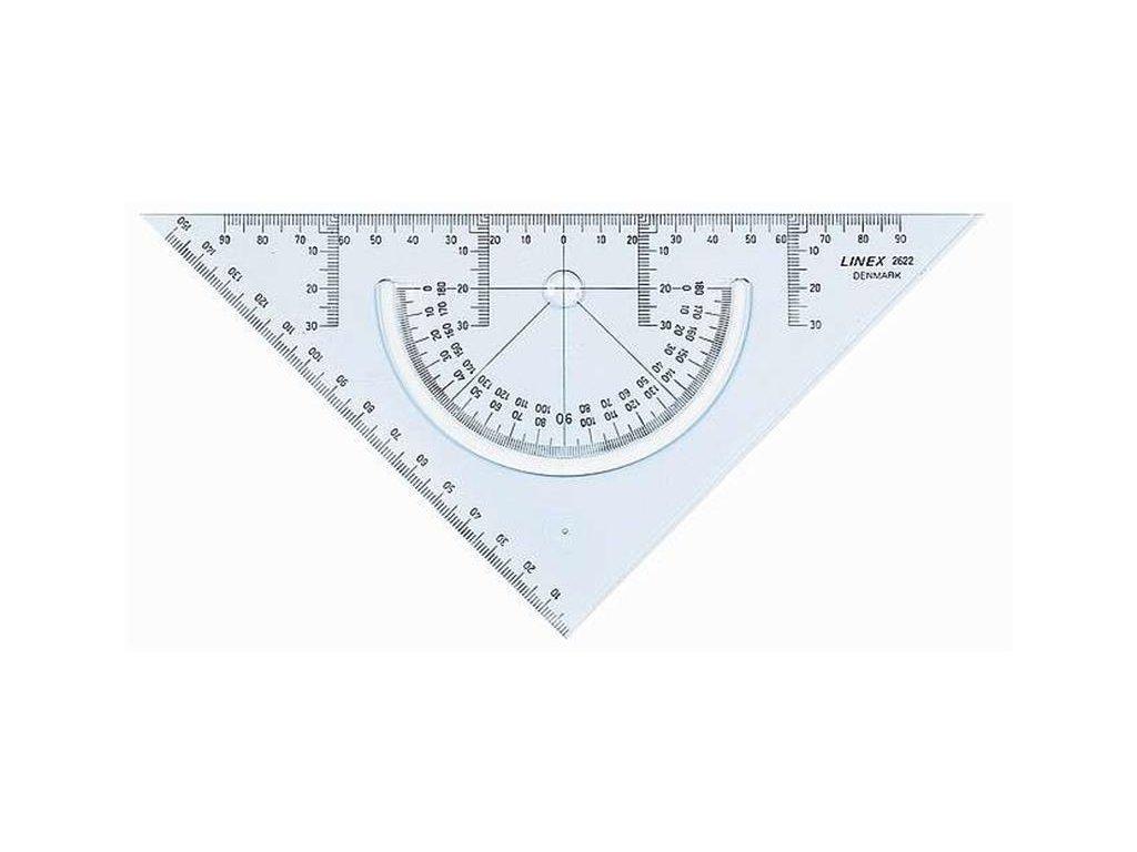 Linex, geometrický trojuholník, uhlomer a pravítko v jednom