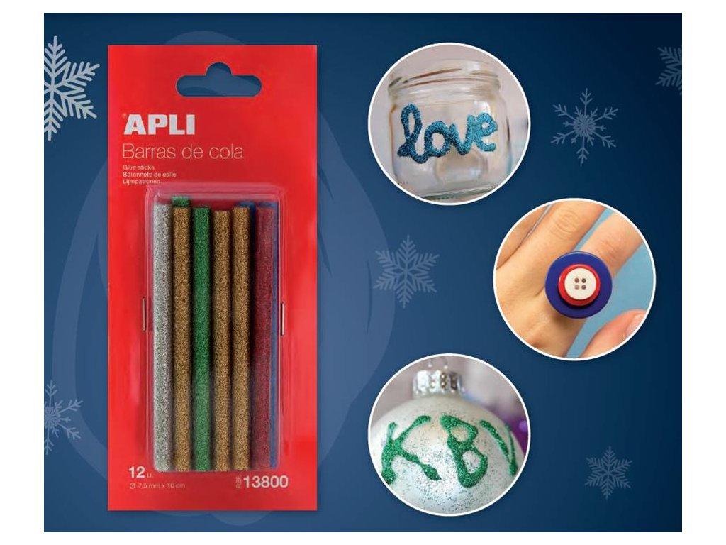 APLI, tavné lepidlo tyčinky 7,5mm x 10cm, farebné s trblietkami
