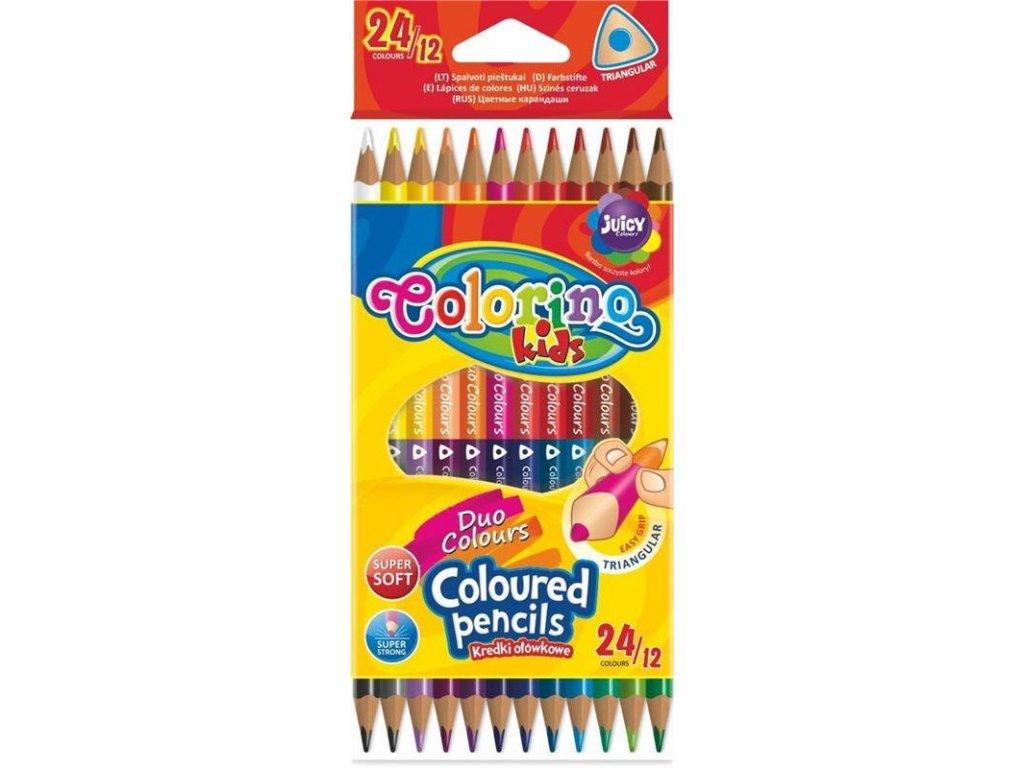 Colorino, trojhranné obojstranné pastelky, 24 farieb