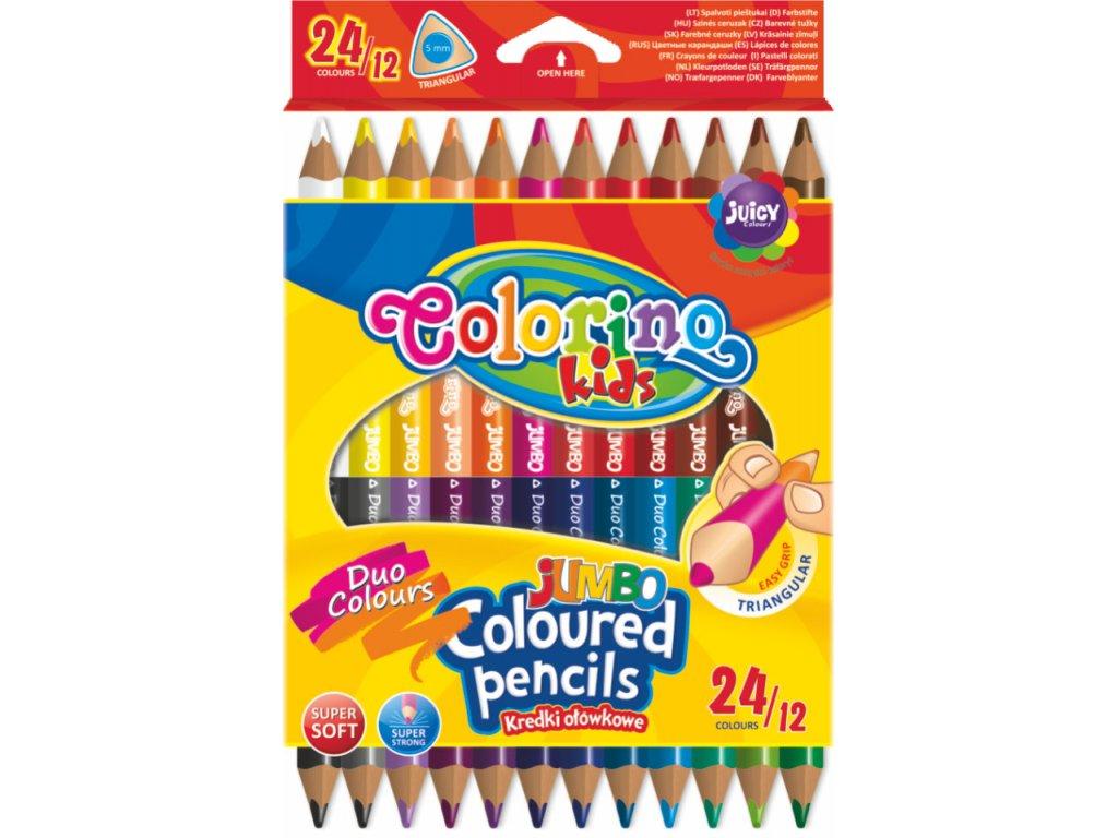 Colorino, trojhranné Jumbo obojstranné pastelky, 24 farieb