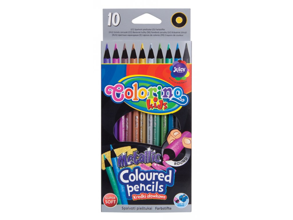 Colorino, okrúhle metalické pastelky, 10 farieb