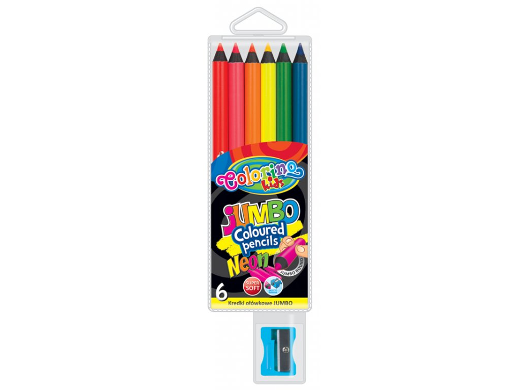 Colorino, guľaté neónové JUMBO pastelky, 6 farieb