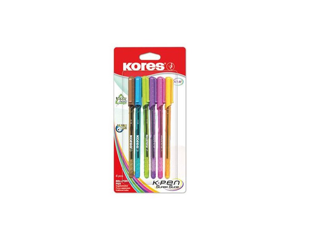 Kores, guličkové pero, 6 kusová sada