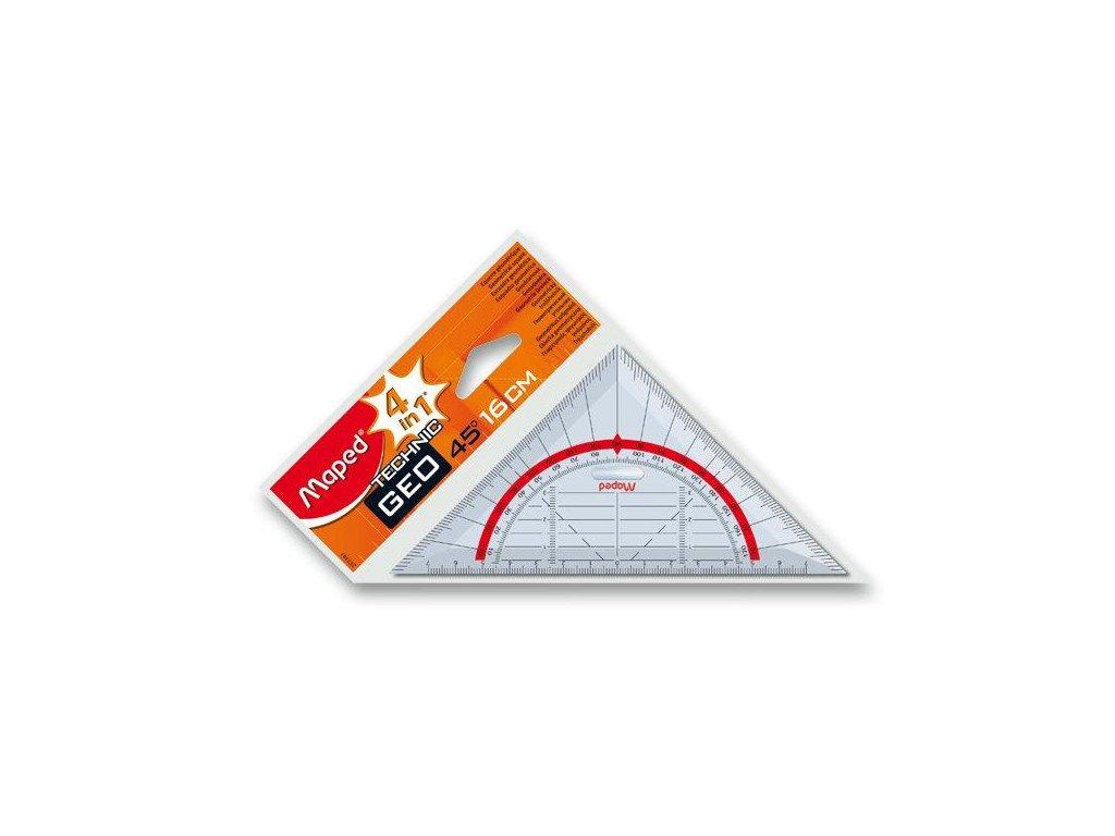 Maped, geometrický trojuholník s držadlom, Technic Geo - prepona 16 cm