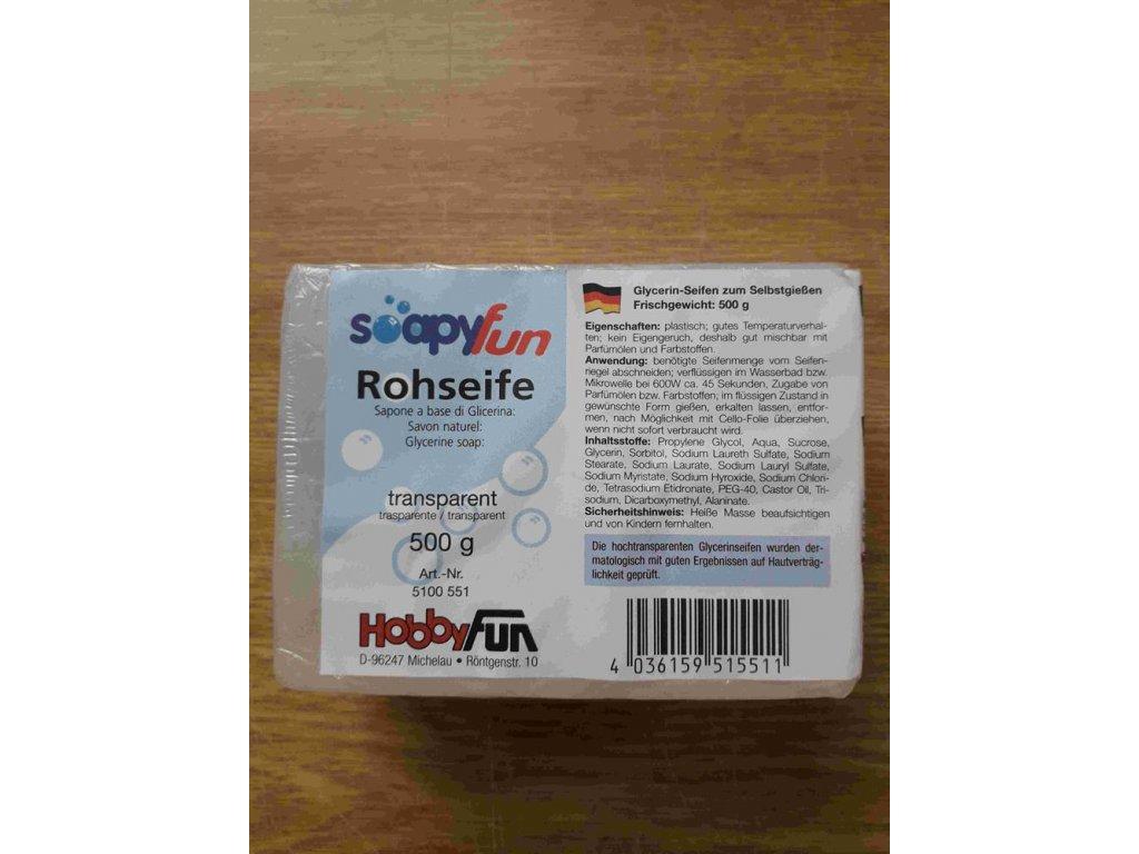 transparentné surovej mydlo 500 g.