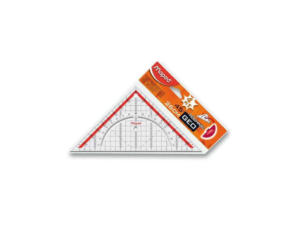 Maped, geometrický trojuholník s držadlom, Technic Geo - prepona 26 cm