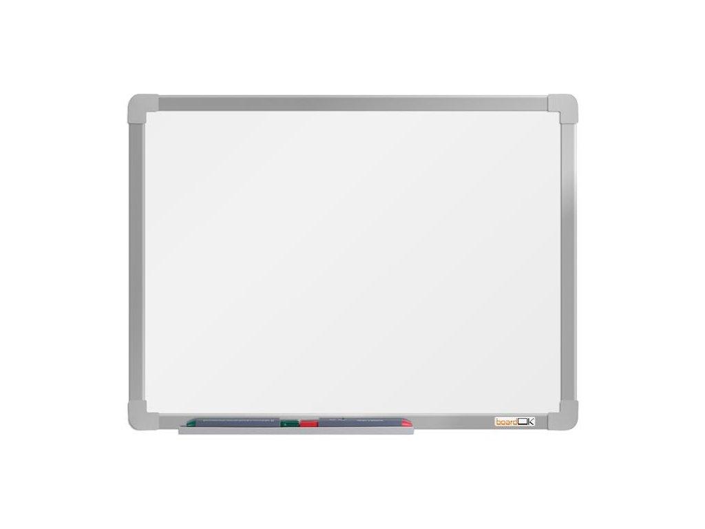 BoardOK, biela magnetická tabuľa s keramickým povrchom, 60x45 cm, strieborný rám