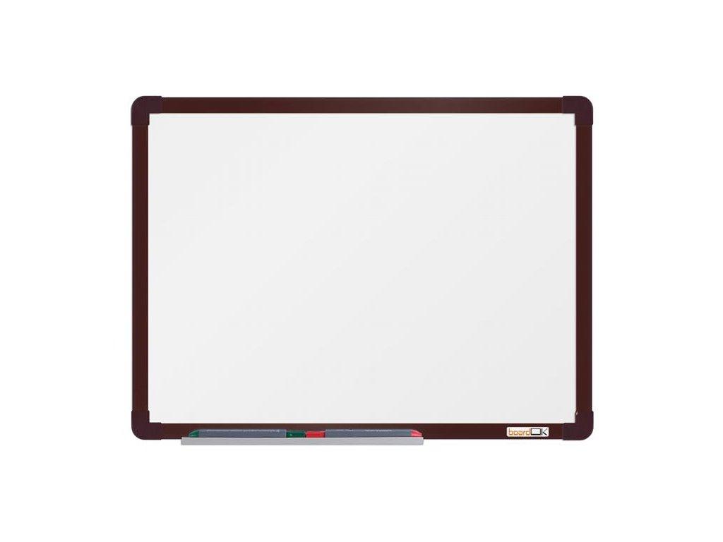 BoardOK, biela magnetická tabuľa s keramickým povrchom, 60x45 cm, hnedý rám