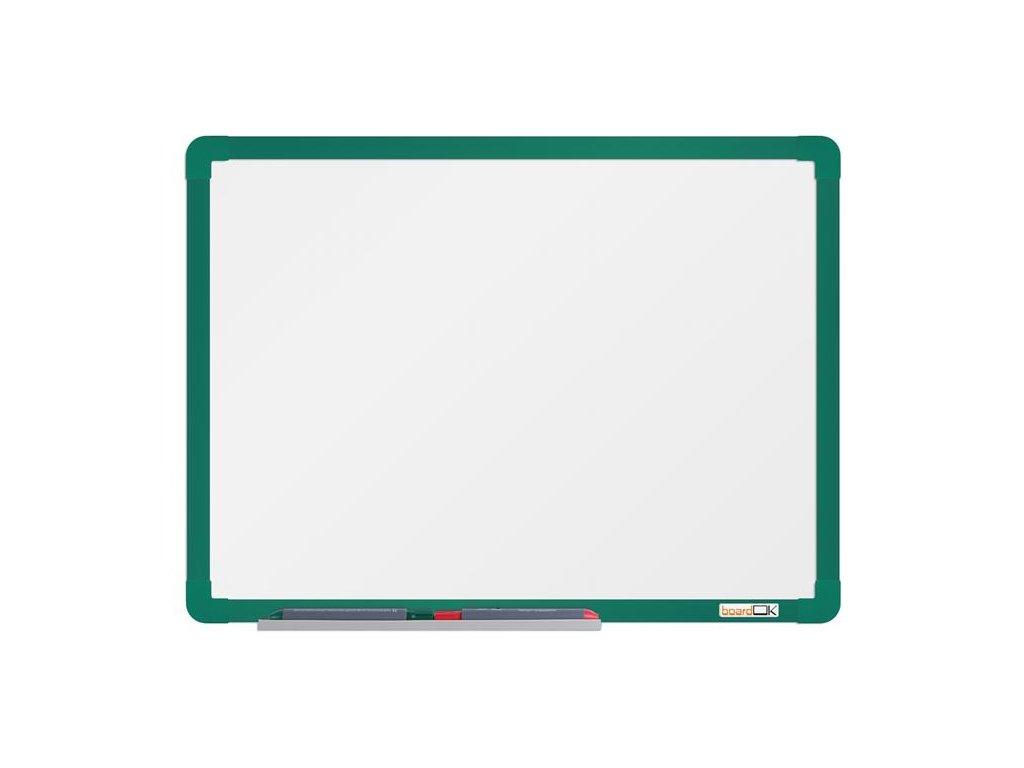 BoardOK, biela magnetická tabuľa s keramickým povrchom, 60x45 cm, zelený rám