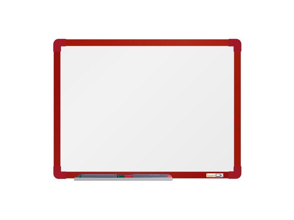 BoardOK, biela magnetická tabuľa s keramickým povrchom, 60x45 cm, červený rám