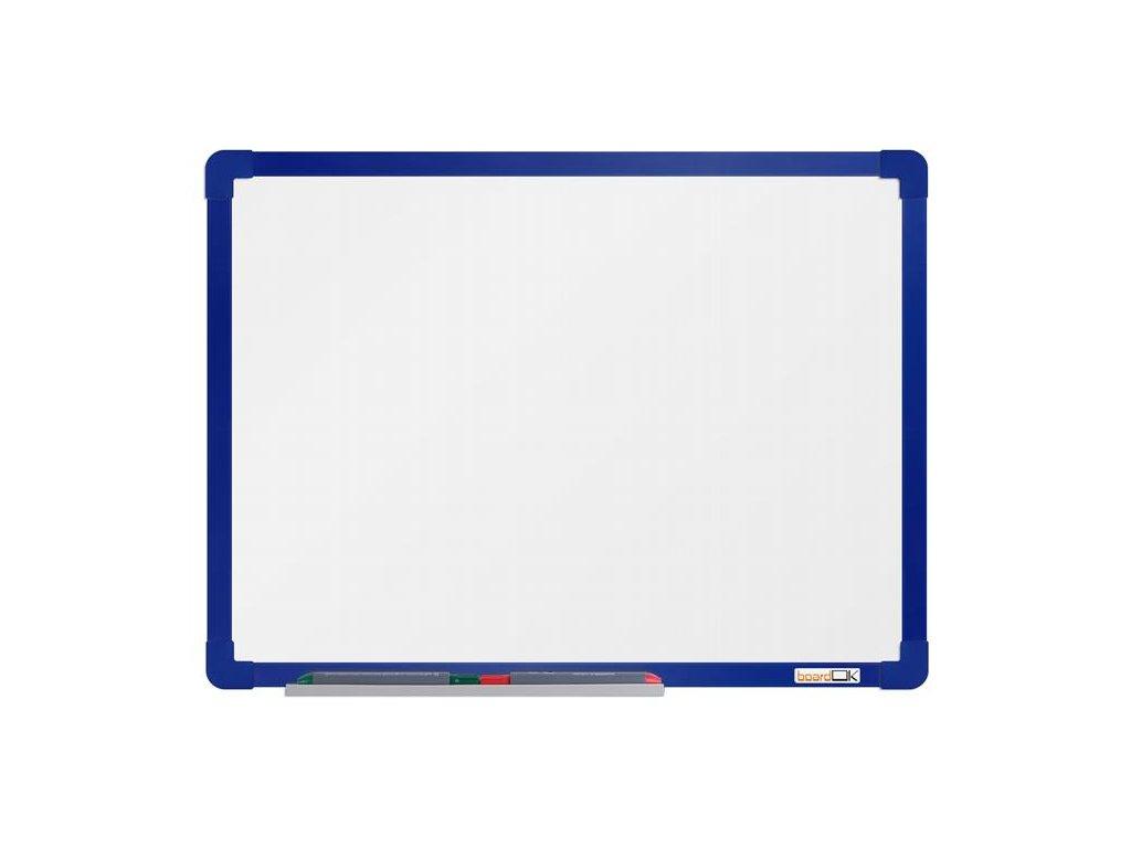 BoardOK, biela magnetická tabuľa s keramickým povrchom, 60x45 cm, modrý rám