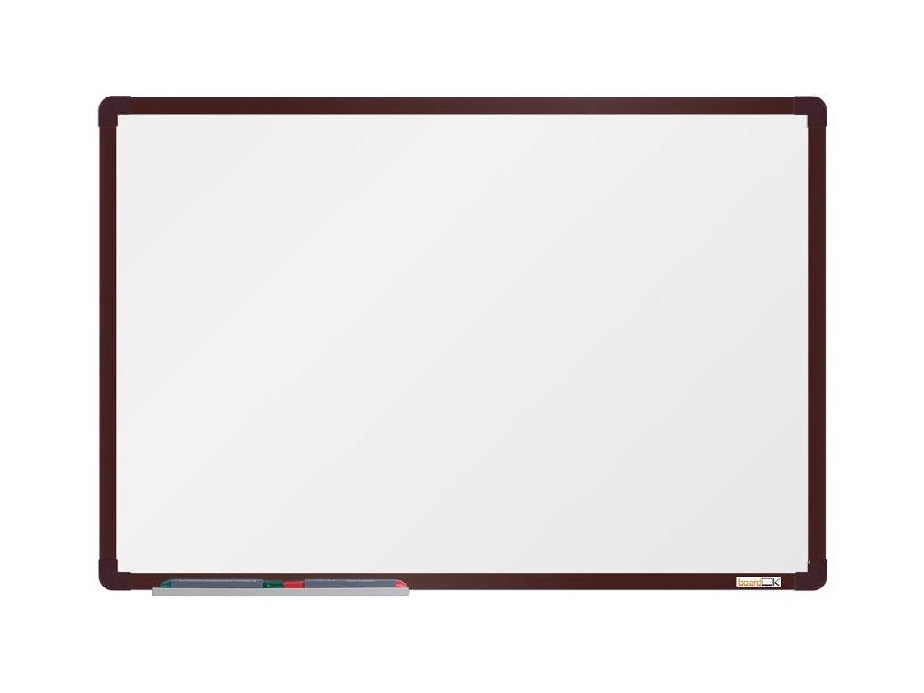 BoardOK, biela magnetická tabuľa s keramickým povrchom, 60x90 cm, hnedý rám