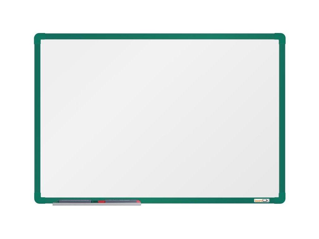BoardOK, biela magnetická tabuľa s keramickým povrchom, 60x90 cm, zelený rám