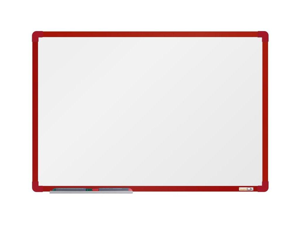 BoardOK, biela magnetická tabuľa s keramickým povrchom, 60x90 cm, červený rám