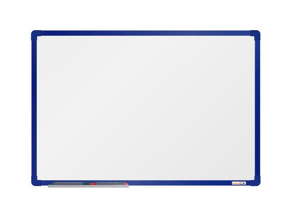 BoardOK, biela magnetická tabuľa s keramickým povrchom, 60x90 cm, modrý rám