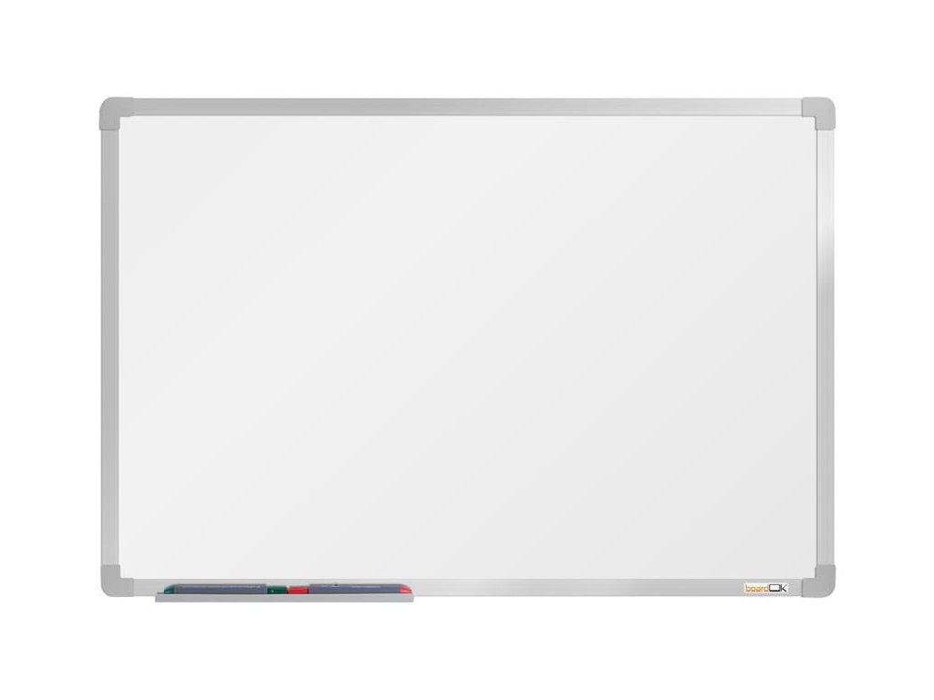 BoardOK, biela magnetická tabuľa s keramickým povrchom, 60x90 cm, strieborný rám