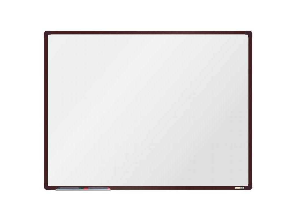 BoardOK, biela magnetická tabuľa s keramickým povrchom, 120x90 cm, hnedý rám