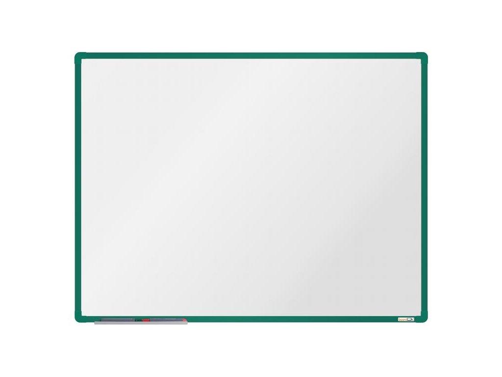 BoardOK, biela magnetická tabuľa s keramickým povrchom, 120x90 cm, zelený rám