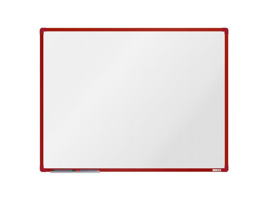 BoardOK, biela magnetická tabuľa s keramickým povrchom, 120x90 cm, červený rám