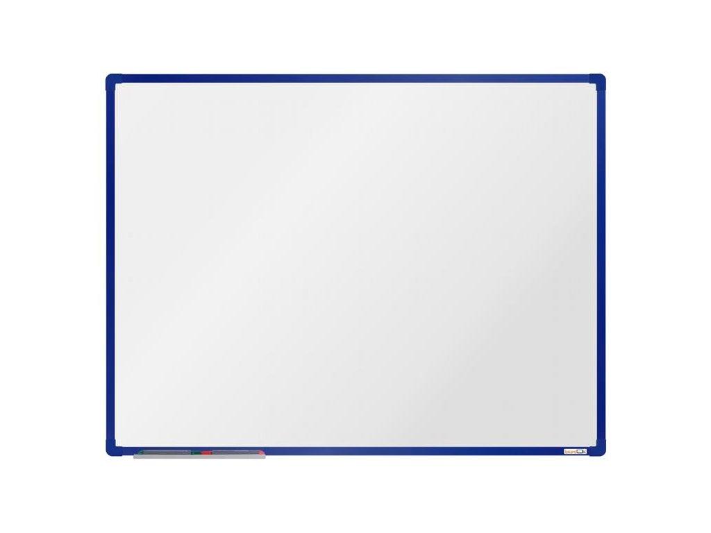 BoardOK, biela magnetická tabuľa s keramickým povrchom, 120x90 cm, modrý rám