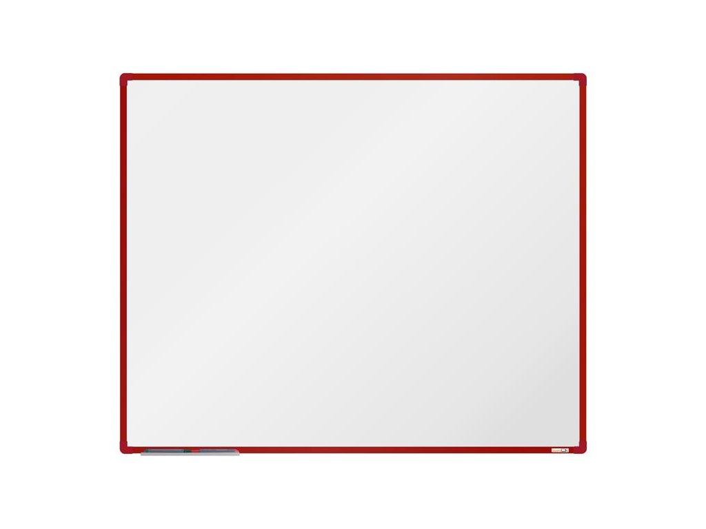 BoardOK, biela magnetická tabuľa 150x120 cm, červený rám