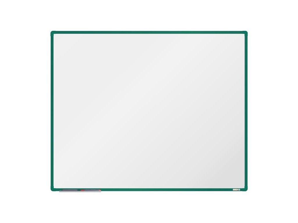 BoardOK, biela magnetická tabuľa s keramickým povrchom, 150x120 cm, zelený rám