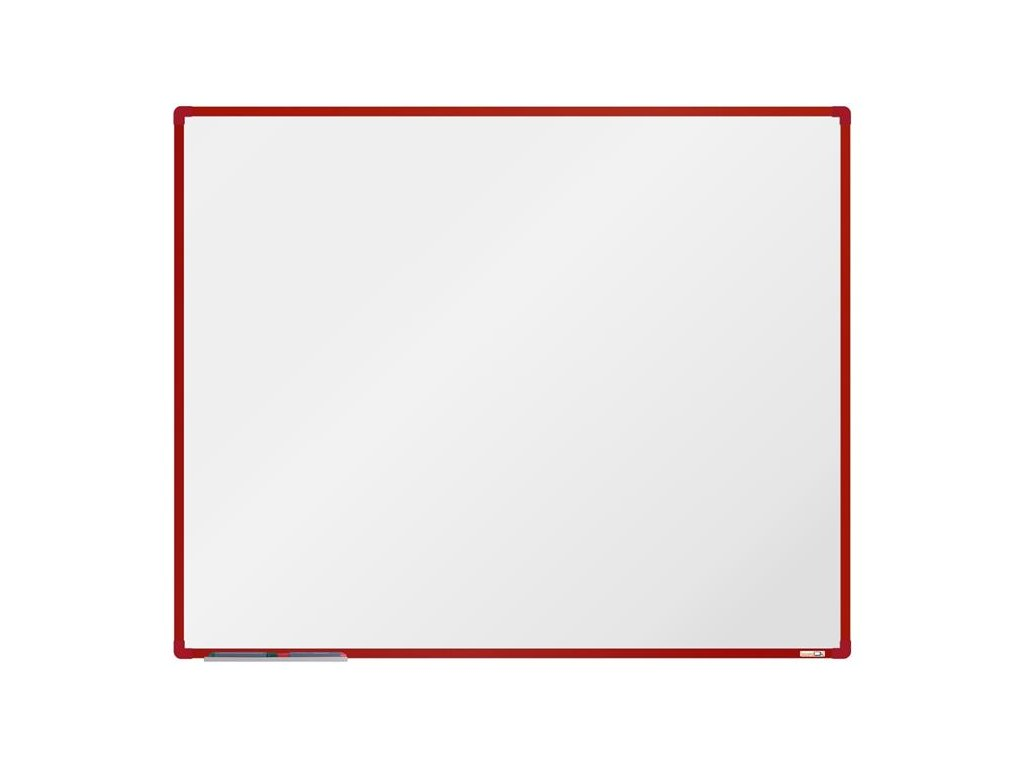 BoardOK, biela magnetická tabuľa s keramickým povrchom, 150x120 cm, červený rám