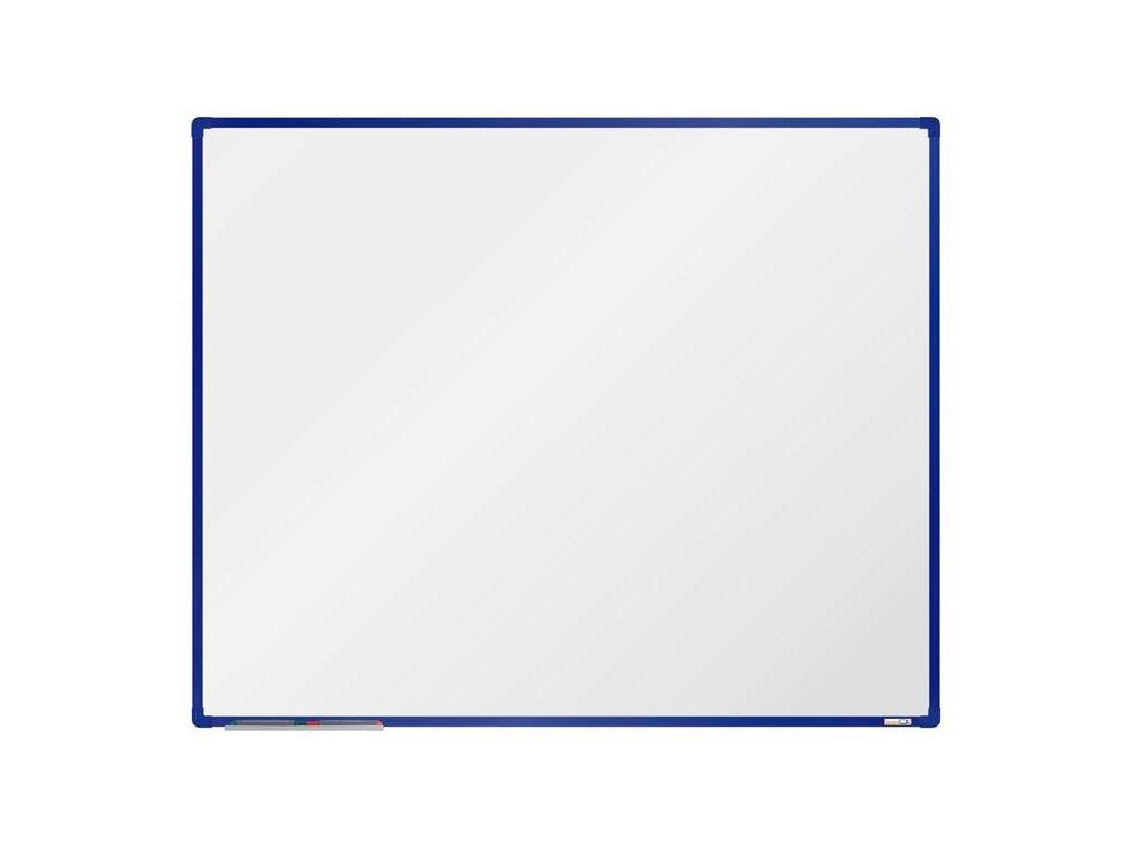 BoardOK, biela magnetická tabuľa s keramickým povrchom, 150x120 cm, modrý rám