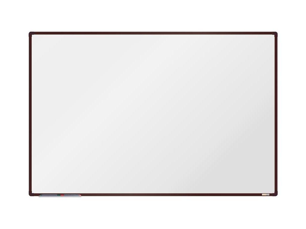 BoardOK, biela magnetická tabuľa s keramickým povrchom, 180x120 cm, hnedý rám