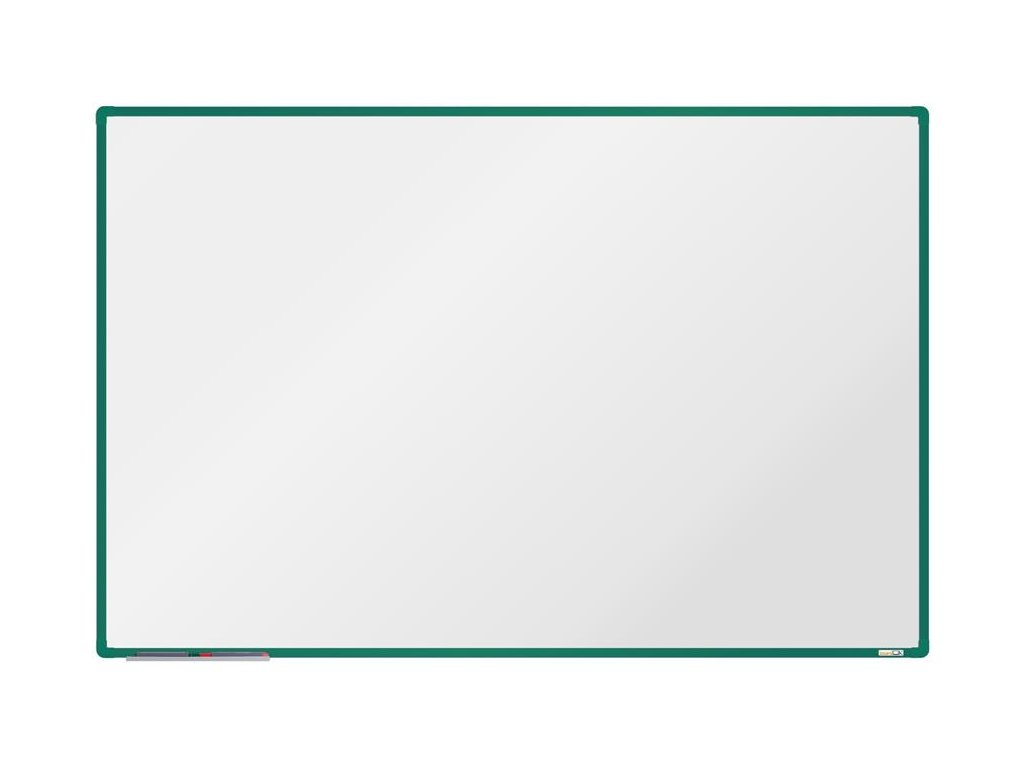 BoardOK, biela magnetická tabuľa s keramickým povrchom, 180x120 cm, zelený rám