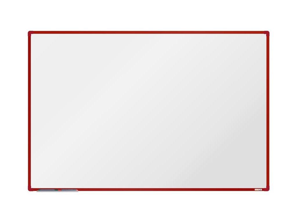 BoardOK, biela magnetická tabuľa s keramickým povrchom, 180x120 cm, červený rám