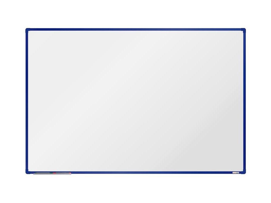 BoardOK, biela magnetická tabuľa s keramickým povrchom, 180x120 cm, modrý rám