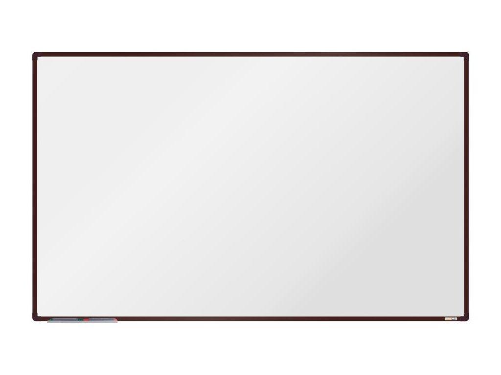 BoardOK, biela magnetická tabuľa s keramickým povrchom, 200x120 cm, hnedý rám