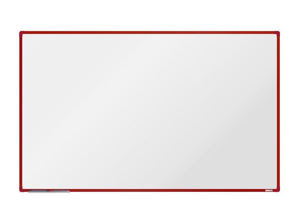 BoardOK, biela magnetická tabuľa s keramickým povrchom, 200x120 cm, červený rám