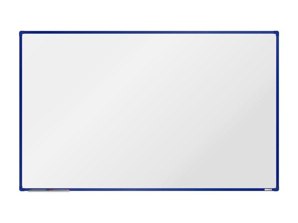 BoardOK, biela magnetická tabuľa s keramickým povrchom, 200x120 cm, modrý rám