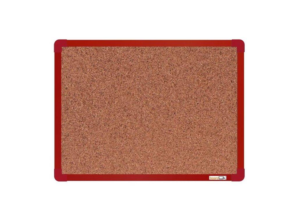 BoardOK, korková nástenka 60x45 cm, červený rám