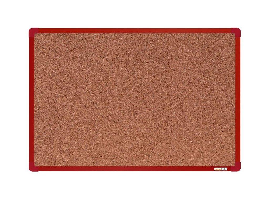 BoardOK, korková nástenka 60x90 cm, červený rám