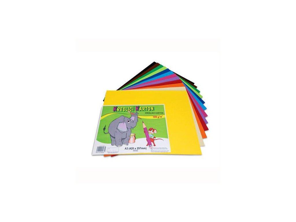 Kresliace kartón farebný A3 / 60 / 180g - mix 12 farieb