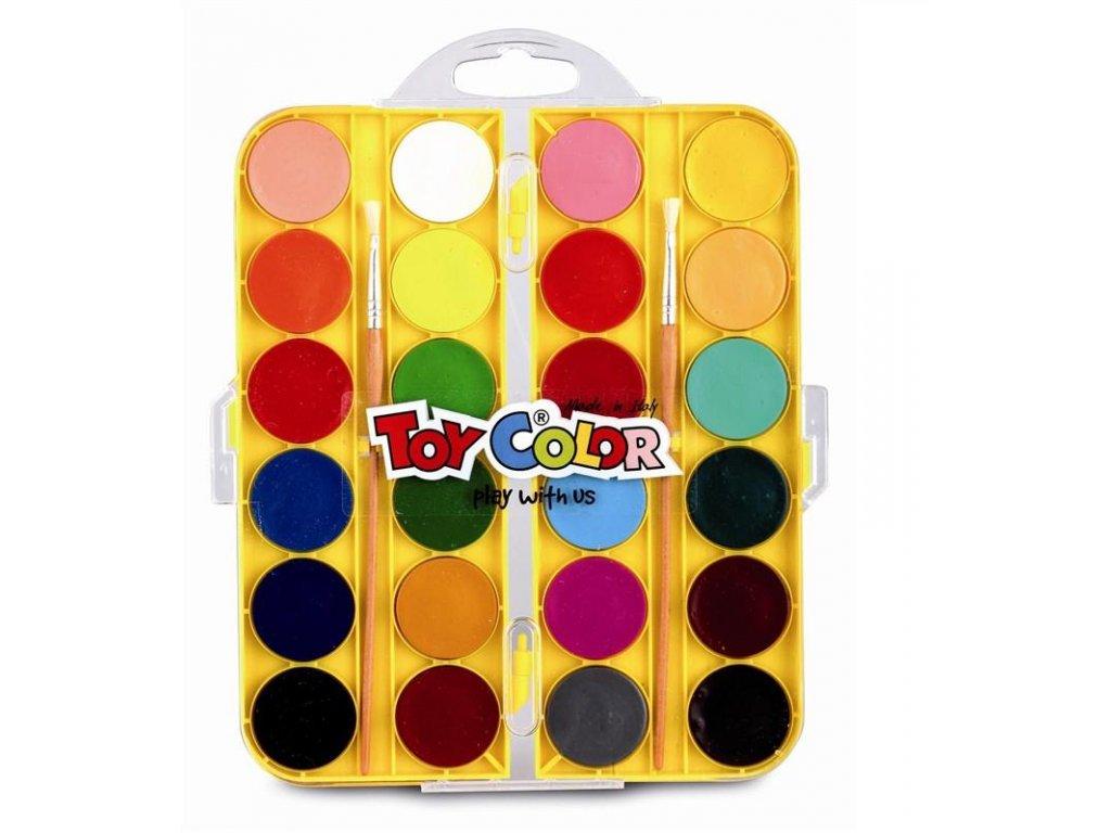 TOY COLOR, vodové farby, 24 farieb + štetec
