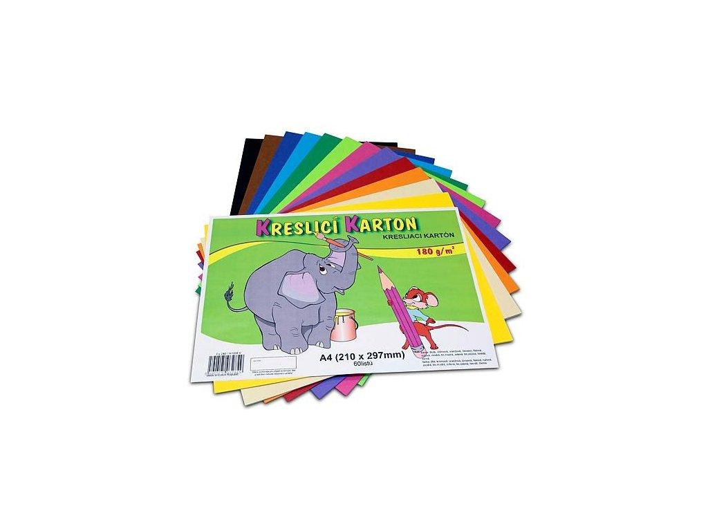 kresliace kartón A4, farebná štvrtka, 180g / m, mix farieb 60 listov