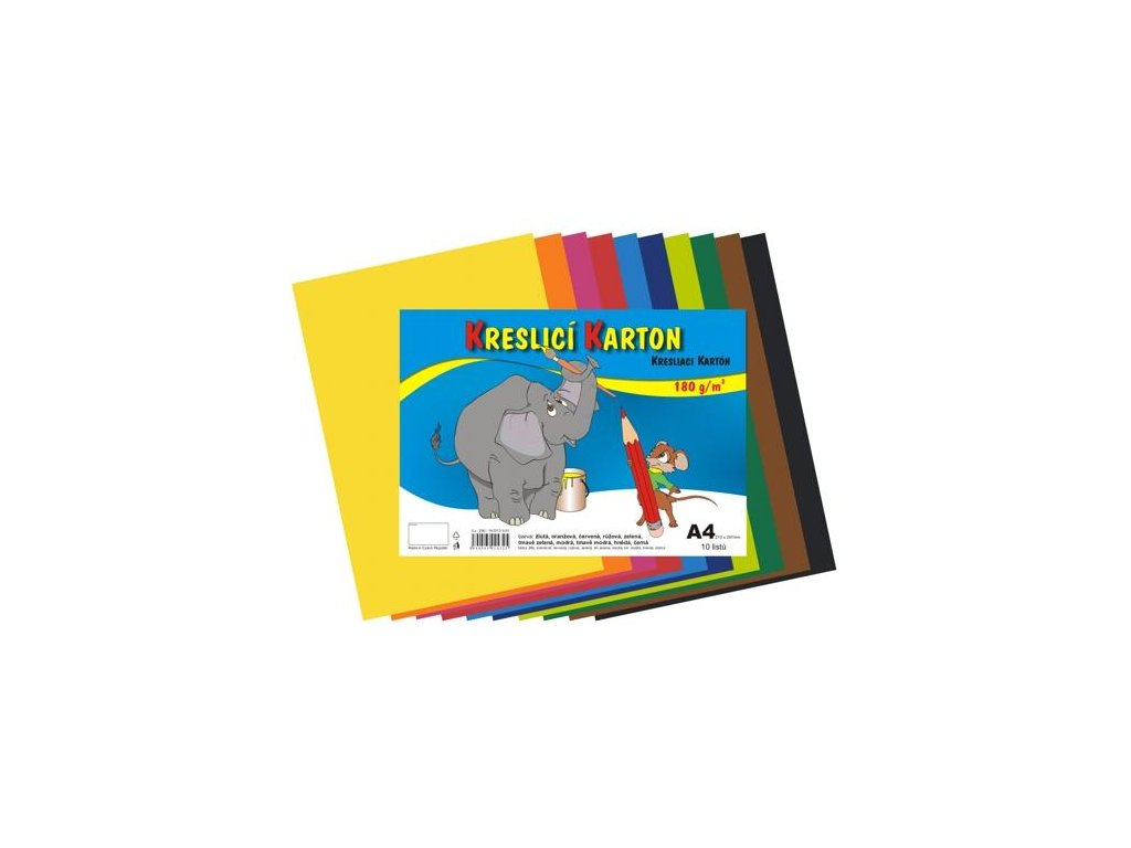 kresliace kartón A4, farebná štvrtka, 180g / m, mix farieb 10 listov