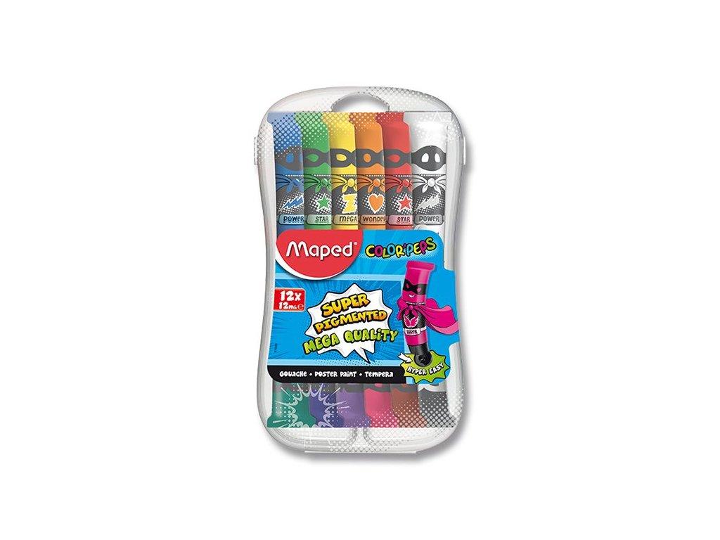 Temperové farby Maped Color'Peps - 12 farieb, 12 ml.