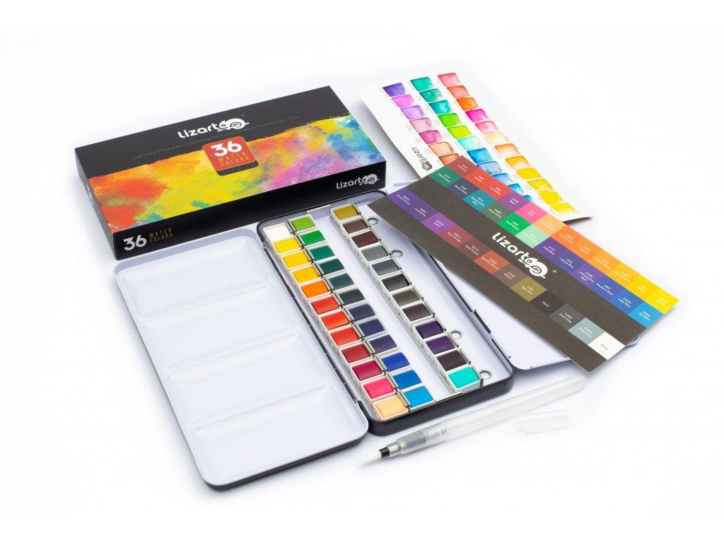 Sada akvarelových farieb: 36 žiarivých farieb + vodou plniteľný štetec Lizart
