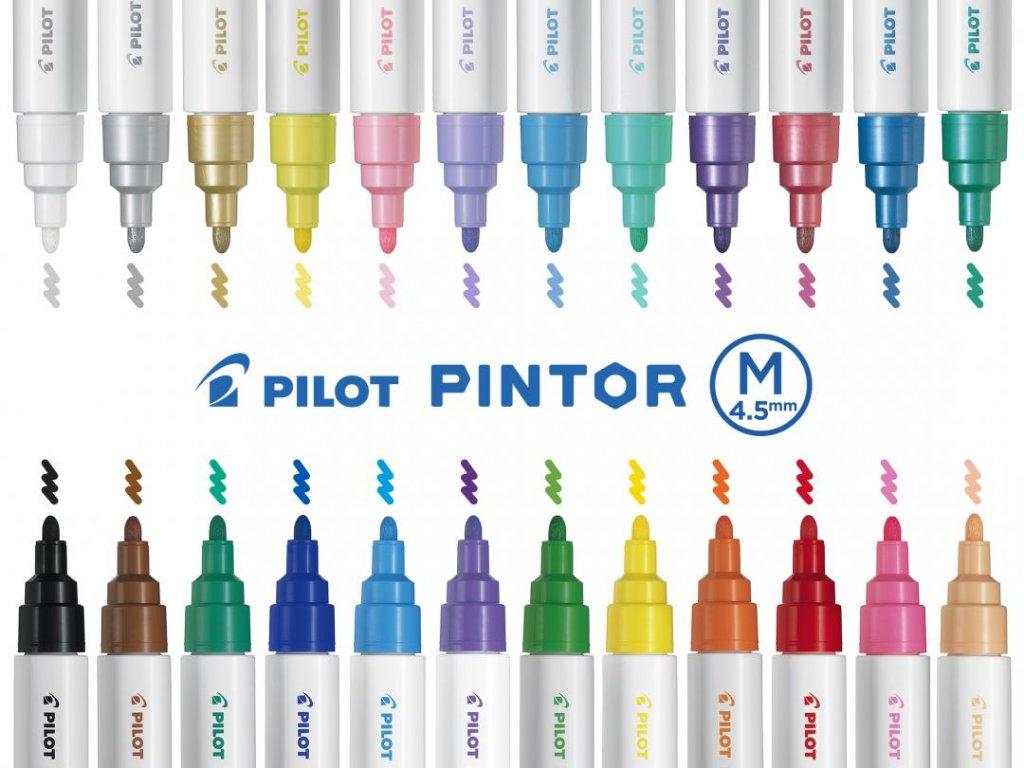 Akrylový popisovač Pilot Pintor M 1,3 mm (Barva Strieborná)